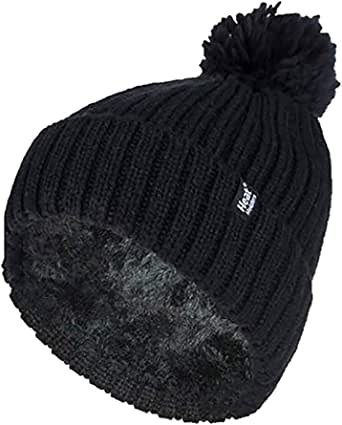 Heat Holders Arden Thermal Ribbed Pom Pom Turn Over Beanie Women's One Size