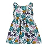 2019 Toddler Kids Baby Girl Boho Girls Dress Print Sleeveless Strap Dress Sundress Bandage Dress (White, Age:4-5 Years)