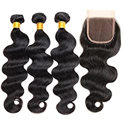 ZILING Hair Brazilian Virgin Body Wave Hair 3 Bundles with Free Part Closure 8A 100% Unprocessed Brazilian Body Wave Human Hair Weft with Lace Closure Brazilian Body Wave(14 16 18 w 14 Free Part)