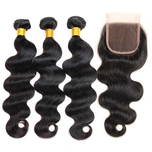 ZILING Hair Brazilian Virgin Body Wave Hair 3 Bundles with Free Part Closure 8A 100% Unprocessed Brazilian Body Wave Human Hair Weft with Lace Closure Brazilian Body Wave(14 16 18 (Loose Body Wave Weave)