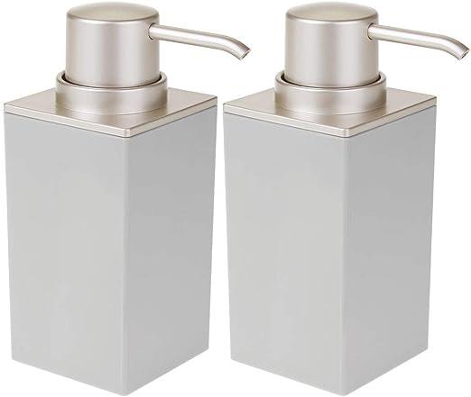 Kitchen Sink mDesign Modern Square Plastic Refillable Soap Dispenser Pump Bottle for Bathroom Vanity Countertop Black//Brushed Essential Oils Hand Sanitizer Dish Soap Holds Hand Soap