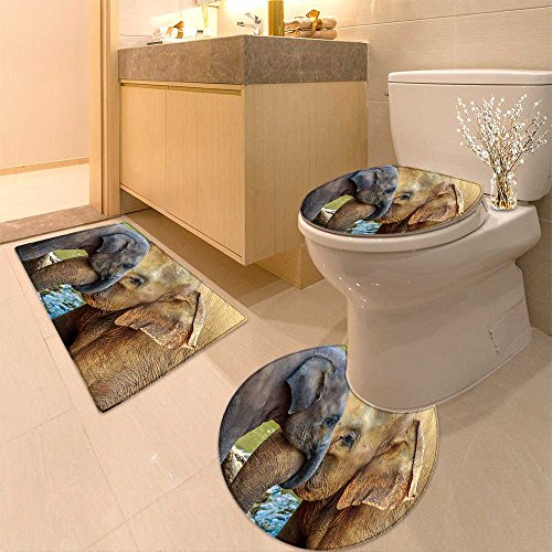 3 Piece Extended bath mat set cuddling elephant and baby elephant Non Slip Bathroom Rugs - Cuddling Mat