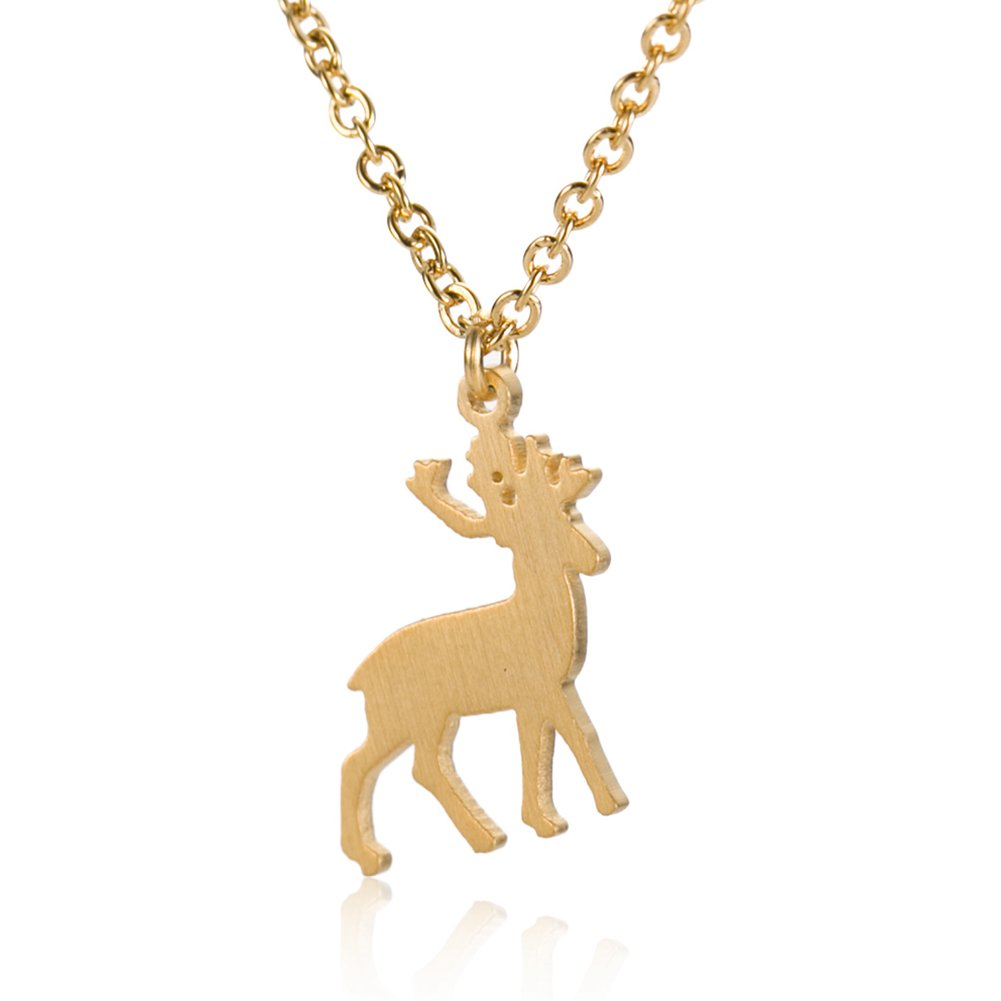 HUAN XUN Little Elk Deer Pendant Necklace - 18k Gold Plated Stainless Steel 16''