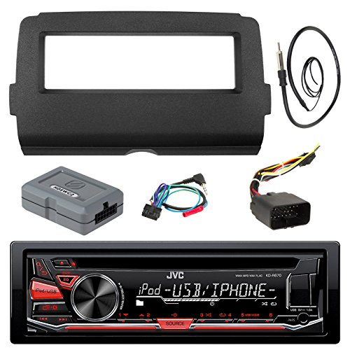 Audio Bundle For 2014 and Up Harley - JVC KD-R670 Marine Stereo CD Receiver Bundle Combo With Dash Install Kit, Handle Bar Controller for Motorcycle, Enrock 22