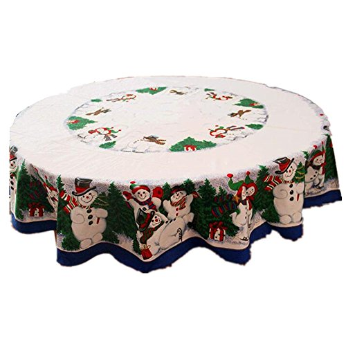 (178cm Round Christmas Snowman Tablecloth Table Cover Pine Tree Tablecloth)