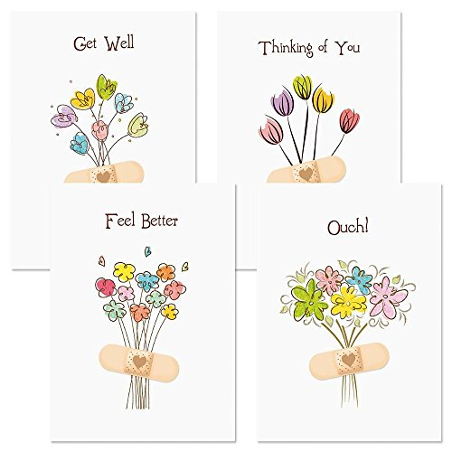 Get Wishes Cards Well (Bandaged Get Well Greeting Cards - Set of 8 (4 designs) Large 5 x 7, Sentiments Inside, Get Well Soon Cards, Get Well Wishes)