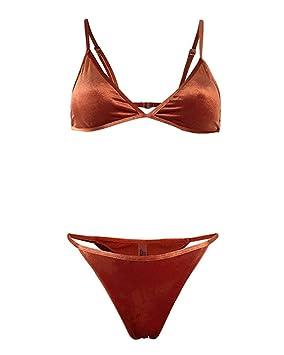 FuweiEncore Bikini de Terciopelo de Las Mujeres Ambos Lados Usan Traje de baño Sujetador (Color : Naranja, tamaño : Small): Amazon.es: Hogar