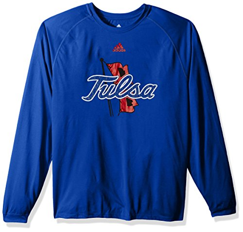 adidas NCAA Tulsa Golden Hurricane Adult Men Sideline Spine Climalite L/S Tee, X-Large, Collegiate Royal