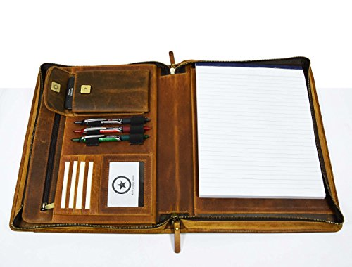 Genuine Leather Organizer (Premium Genuine Leather Business Portfolio and Professional Organizer, With a Zippered Closure,Tan, By Aaron Leather)