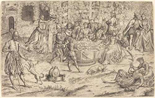 (Fine Art Print   Master HS   Banquet in the Park of a French Castle c. 1550   Vintage Wall Decor Poster Reproduction   44in x 30in)