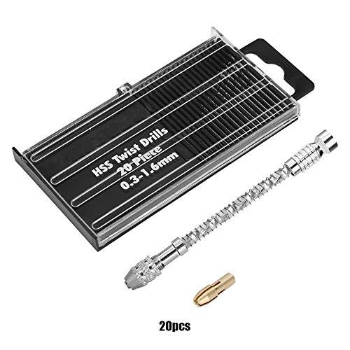 WolfGo マイクロミニポータブルツールセット小型ハンドドリル&20枚ツイストドリルビット0.3〜1.6ミリメートル