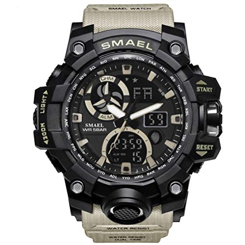 Richermall Mens Sports Analog Quartz Watch Dual Display Waterproof Digital Watches with LED Backlight relogio masculino (Khaki-Camo)