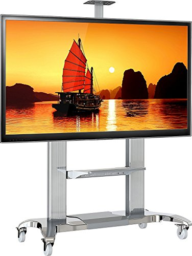 Rolling Media Center - Mobile TV Stand Heavy Duty TV Cart for 60 to 100-inch LCD LED Flat Panel TVs up to 300 lbs White