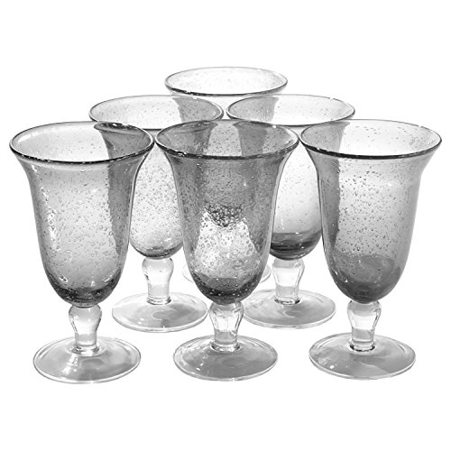 Artland Iris Seeded Clear 18 Ounce Footed Iced Tea Glass, Set of 6