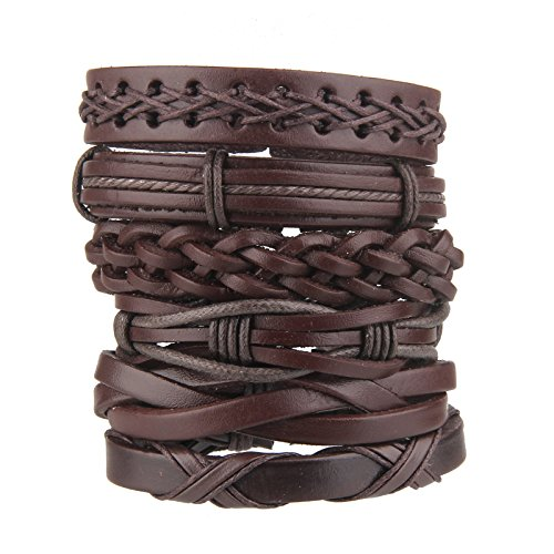 - Beauty7 6PCS Brown Mixed Genuine Cowhide Leather Bracelet Men Women Braided Adjustable Multi-Layer Ethnic Tribal Wrap Bracelet Wood Bead Hemp Cord Cuff Wristband