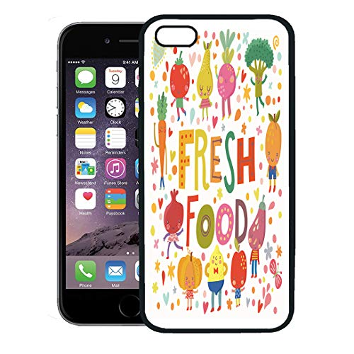 Semtomn Phone Case for iPhone 8 Plus case,Lovely Fresh Food Sweet Fruits and Vegetables in Tasty Lemon Apple Eggplant Apricot Broccoli Beet Pear iPhone 7 Plus case Cover,Black
