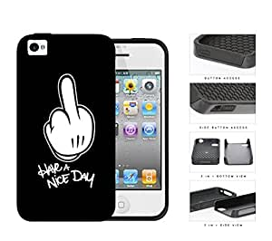 Cartoon Middle Finger Quote Have A Nice Day 2-Piece Dual Layer High Impact Rubber Silicone Cell Phone Case Apple iPhone 4 4s