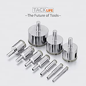 Tacklife AHS02C Diamond Drill Bits Hole Saw Drill Bits Hollow Extractor Remover Set Tools with 10 Packs, Diamond Coating, Carbon Steel for Glass, Ceramics, Porcelain, Ceramic Tile, Marble