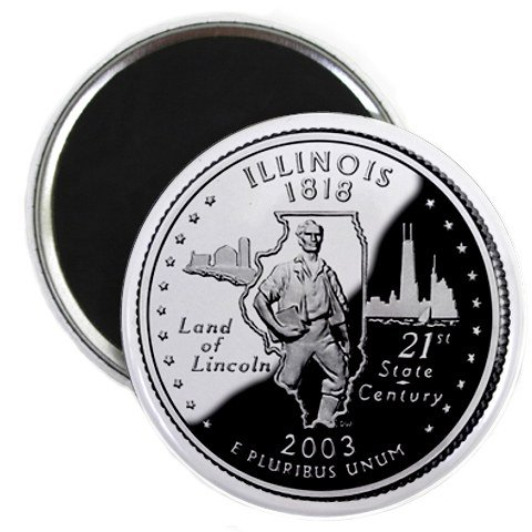 Illinois State Quarter Mint Image 2.25 inch Fridge Magnet