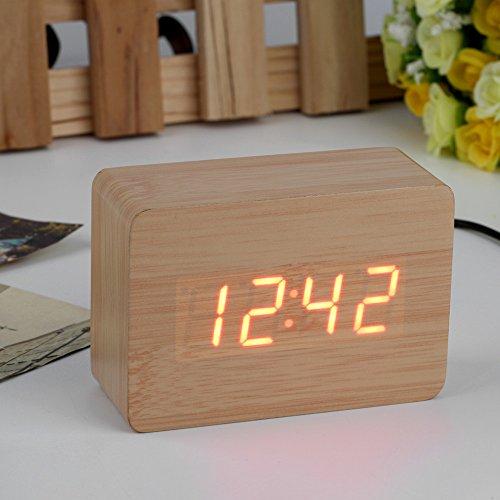 [2016 Popular Modern sensor Wood Clock Dual led display Bamboo Clock digital alarm clock Led Clock Show time Voice Control] (Do It Yourself Costumes 2016)