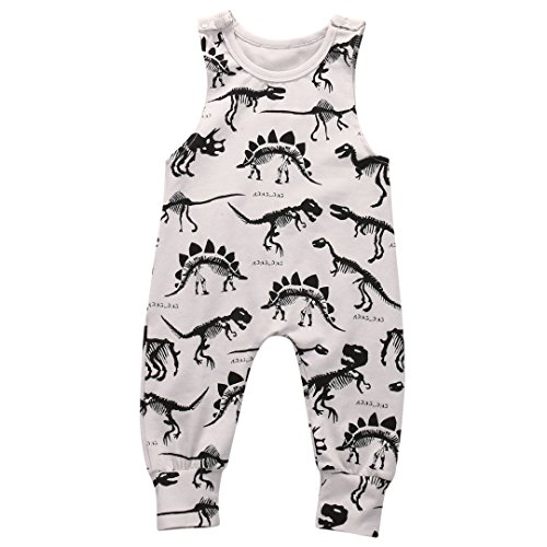 Summer Baby Boys Animal Printed Sleeveless Romper One-piece Bodysuit Jumpsuit Outfits Grey (80cm/3-6 Months)