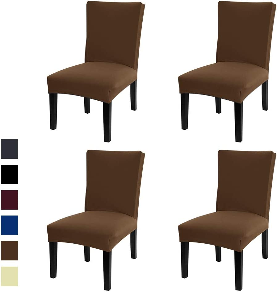 Amazon Com Jml Dining Chair Cover Super Stretch Fit Removable Washable Short Dining Chair Seat Slipcover For Hotel Dining Room Ceremony Banquet Wedding Party Brown 4 Pack Kitchen Dining