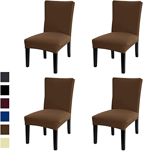 4 Pack, Black Lacoreka Dining Chair Cover Seat Slipcover Set of 4 Super Fit Stretch Removable Washable Parsons Short Chair Protector Covers for Kitchen,Hotel,Dining Room,Ceremony,Banquet Wedding