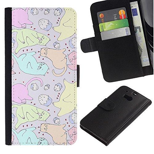 LASTONE PHONE CASE / Lujo Billetera de Cuero Caso del tirón Titular de la tarjeta Flip Carcasa Funda para HTC One M8 / Cats Cupcake Art Colorful Drawing