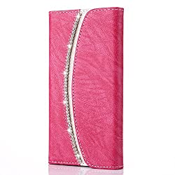 Rhinestones Flip PU Leather Case For iPhone 4/4s - Pink