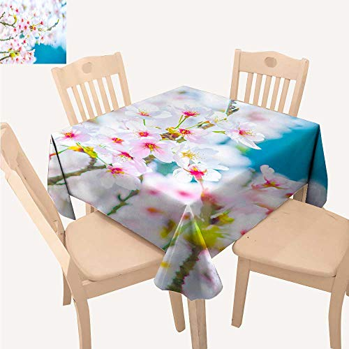 UHOO2018 100% Polyester Tablecloth Brilliant Cherry Blossoms Square/Rectangle Multicolor,50x 50inch -