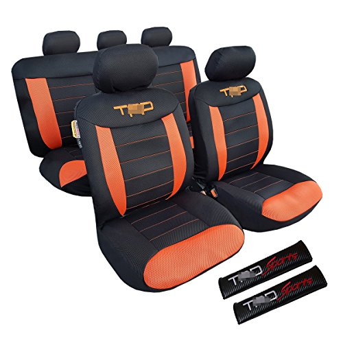 New Airflow Cool Orange Red Tan Black 3D Spacer Mesh Universal Embroidery Car Seat Cover & Carbon Embroidery Shoulder Pads For Truck Tacoma (Orange/Black)