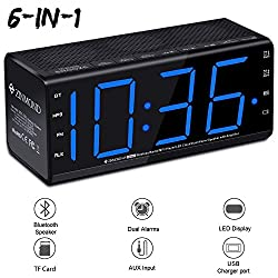 "Clock Radio with Bluetooth Speaker, Zinmond Digital Alarm Clock with FM Radio/MP3 Player/6.5"" Large Screen/Dual Alarms/Bluetooth 4.0 Speaker/Aux-in/Handsfree Calling/MicroSD Card Slot/USB Charging"