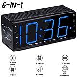 Zinmond Digital Alarm Clock with Bluetooth Speaker, Alarm Clock Radio Bedside, Dual Alarms, FM Radio, Bluetooth 4.0 Speaker, Aux-in, 6.5-inch Large LED Display, MicroSD Card Slot, USB Charging