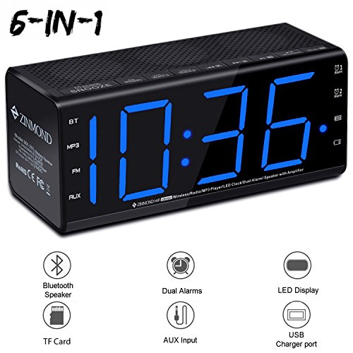 Zinmond Digital Alarm Clock with Bluetooth Speaker, Alarm Clock Radio Bedside, Dual Alarms, FM Radio, Bluetooth 4.0 Speaker, Aux-in, 6.5-inch Large LED Display, MicroSD Card Slot, USB Charging by Zinmond
