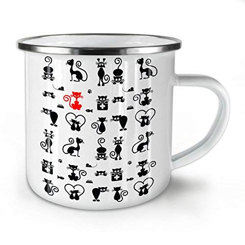 Playful Kitty Game Enamel Mug Cat Habit Cup for Camping /& Outdoors 10 oz