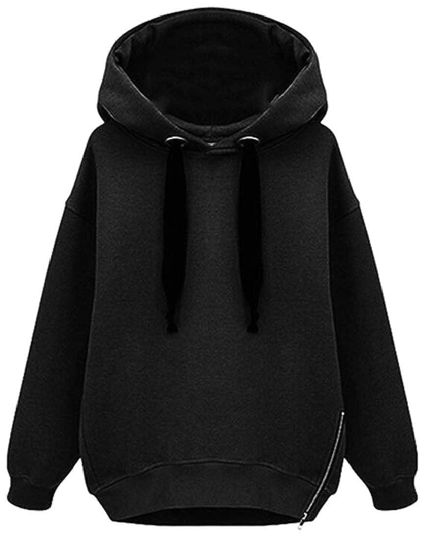 XTX Women Hoodie Top Loose Zip Solid Color Pullover Sweatshirts