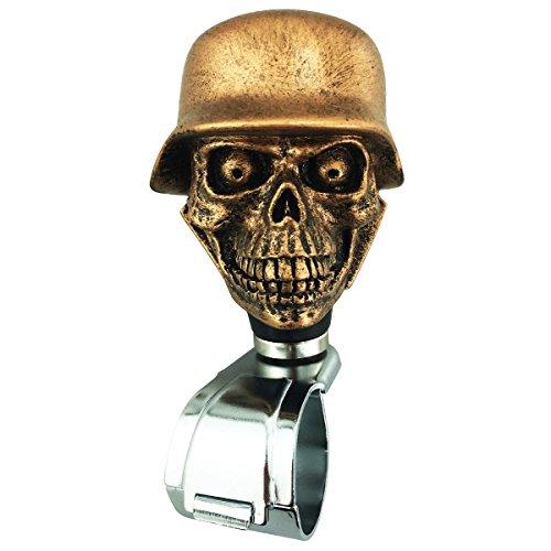 (Abfer Steering Wheel Spinner Suicide Knob Skull Gold Steering Wheel Handle Ball Spinner Knob for Vehicles)