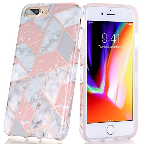 iPhone 8 Plus/7 Plus Case, BAISRKE Shiny Rose Gold Lines Clear Bumper TPU Soft Rubber Silicone Protective Phone Case for Apple iPhone 7 Plus/8 Plus/6 Plus/6S Plus [Pink Marble Geometric]