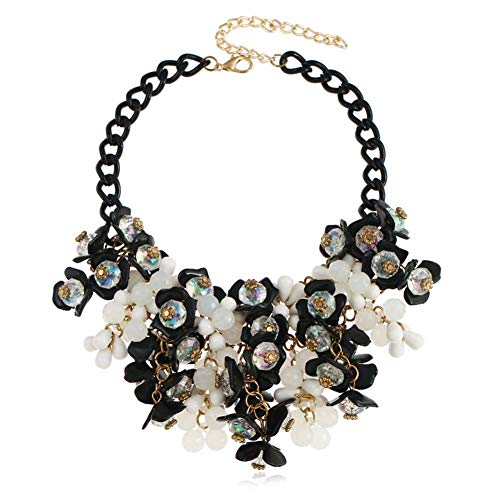 HoBST Party Black White Choker Necklace Fashion Flower Bubble Bib Collar Chain Statement Necklaces for Women