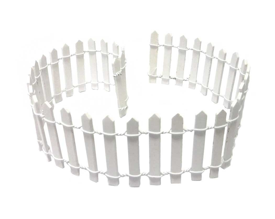 "Miniature Fairy Garden White Wood Picket Fence, 18"" by 2"""