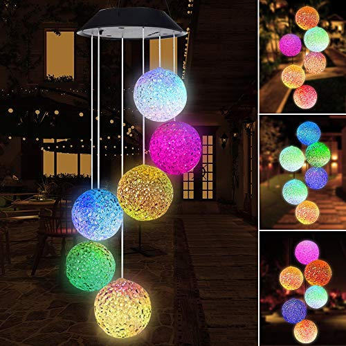 SIX FOXES Crystal Balls Solar Wind Chimes, LED Color Changing Wind Chimes Outdoor, Waterproof Wind Mobile Solar Lights, Décor for Garden, Yard, Patio, Home, Gifts for Mom, Wife, Grandma ()