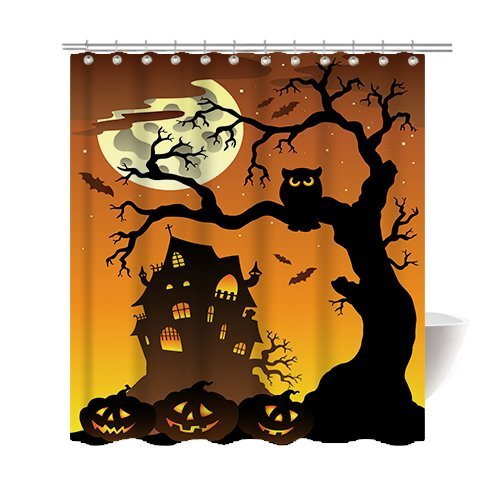 Gwein Halloween Night Theme Happy Halloweenk Decorative Bathroom Mildew Resistant Fabric Shower Curtain Waterproof Antibacterial Shower Room Decor Shower Curtains 66 x (Art And Hobby Halloween Costumes)