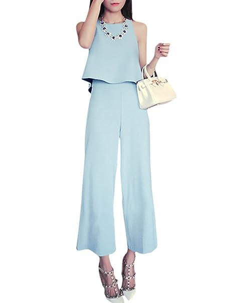 Azzurro Amazon Sourcingmap it Blu Donna Tailleur Pantalone qX00wAI
