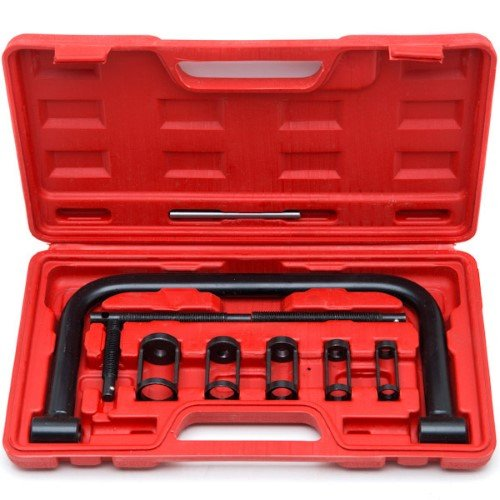 Motorcycle Valve Spring Compressor - Qp-SUNROAD 5 Sizes Valve Spring Compressor C Clamp Pusher Repair Tool Set for Auto Motorcycle ATV Cars Small Engine