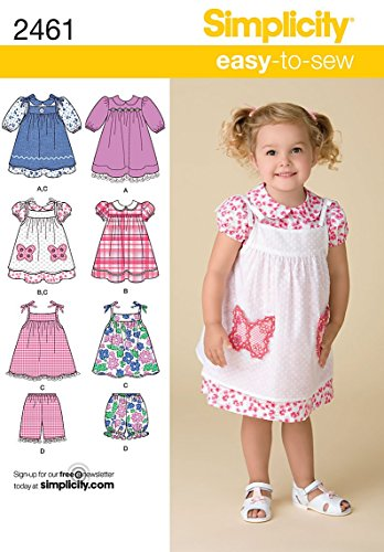 3 Sewing Patterns - Simplicity Easy To Sew Toddler Dress, Pinafore, and Shorts Sewing Pattern, Sizes 1/2-4