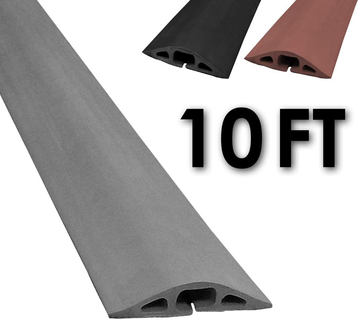 Electriduct D-2 Rubber Duct Cord Cover - 10 Feet Gray Floor Cable Protector