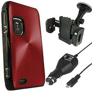 Nokia E7 Paquete Quad ONX3 - Red de protección de aluminio de la caja trasera dura + LCD Protector de pantalla + horquilla del sostenedor del coche + 12v Cargador de Coche