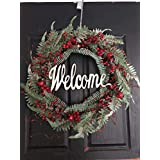 QUNWREATH Handmade 16 inch Christmas Series Wreath,Leaf,Welcome Letter,Fall Wreath,Wreath Front Door,Rustic Wreath,Farmhouse Wreath,Grapevine Wreath,Light up Wreath,Everyday Wreath,QUNW44