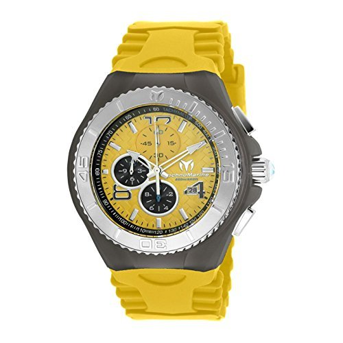 TechnoMarine Men's Cruise JellyFish 46mm Yellow Silicone Band Steel Case Swiss Quartz Watch TM-115112