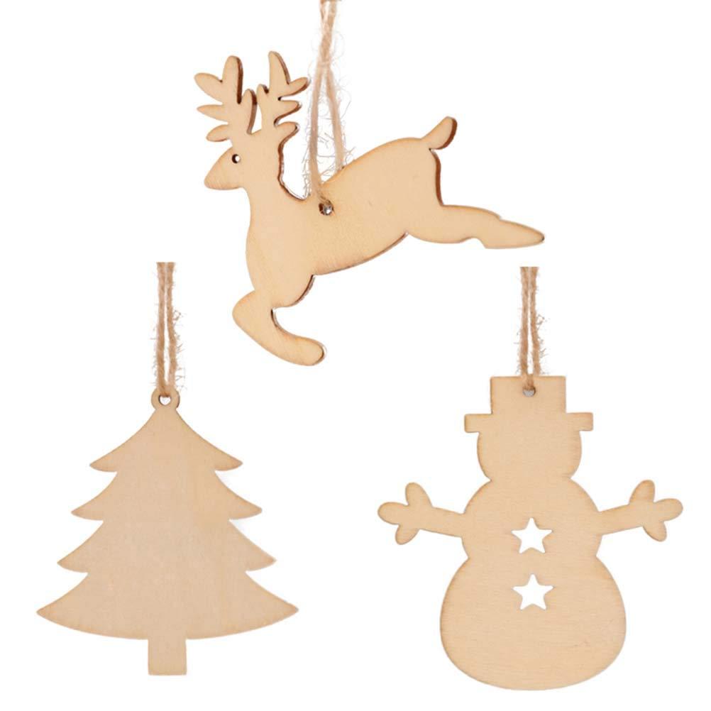 Amazon Com Vosarea 30pcs Wooden Christmas Tree Decorations